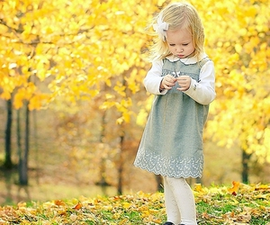 girl, autumn, and baby image