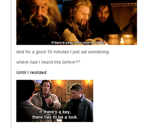 dean winchester, hobbit, and sam winchester image