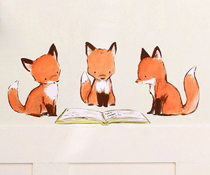 fox, book, and foxes image