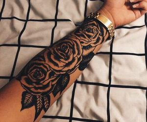 arm, roses, and black and white image