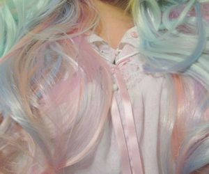 colorful hair, hair dye, and pastel image
