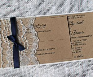 wedding invitation, rustic wedding invitation, and lace wedding invitation image