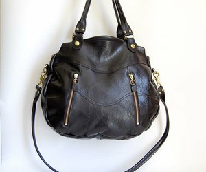 black, handbag, and leather image