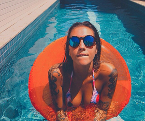 girl, tattoo, and pool image