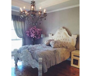 bedroom, chandelier, and chic image