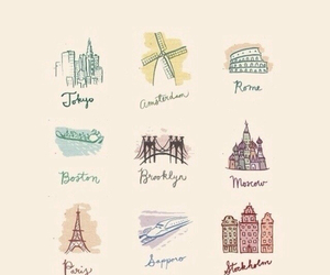background, cities, and drawings image