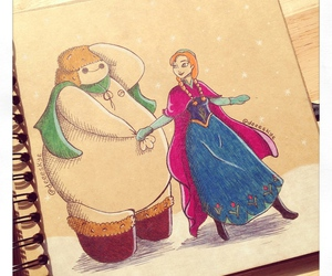 anna, baymax, and frozen image