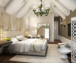 bed, bedroom, and decorate image