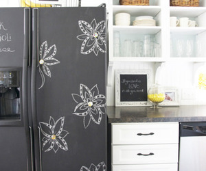 chalkboard, home, and refrigerator image