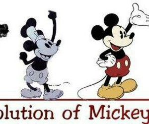 evolution, year, and mickey mouse image