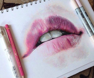 art, pink, and lips image