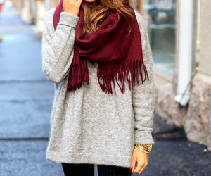 fashion, outfit, and scarf image