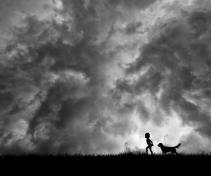 children, dogs, and landscape image