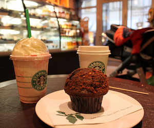 chocolate, coffee, and muffin image