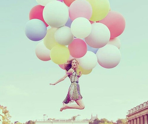 balloons, girl, and fly image