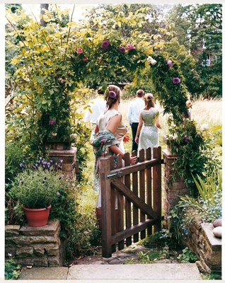 arch, flowers, and garden image