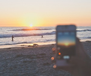 beach, iphone, and sunset image