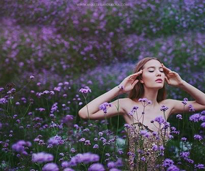 photography, flowers, and girl image