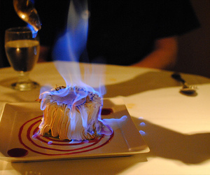 food, fire, and blue image