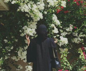 abaya, flowers, and hijab image
