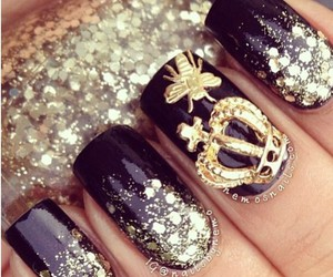 black, manicure, and crown image