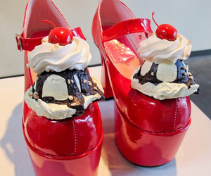 shoes, red, and ice cream image