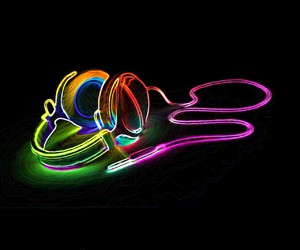 colourful, cool, and headphone image