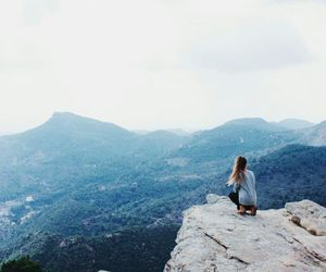 mountains, girl, and nature image