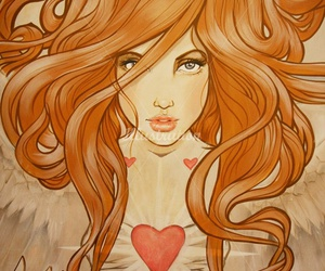 art, hair, and heart image