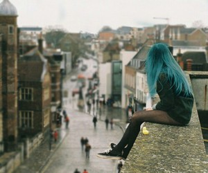 blue, girl, and city image