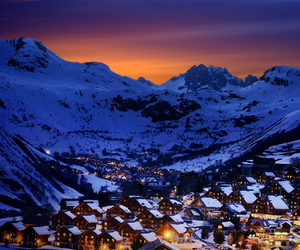 snow, lights, and mountains image