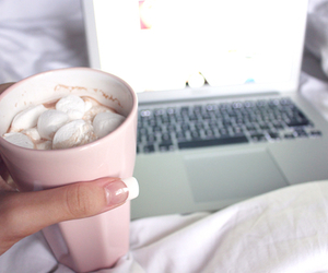 macbook, marshmallow, and pink image