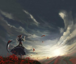 anime, clouds, and red image