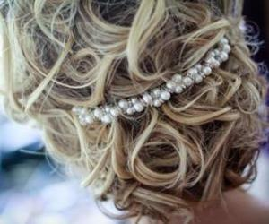 hair, blonde, and pearls image