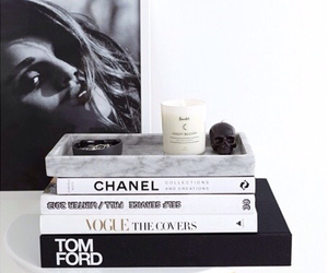 books, candle, and chanel image