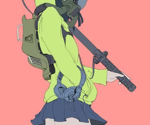 anime, gas mask, and girl image
