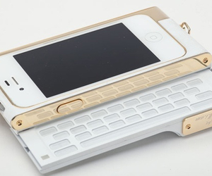 iphone, gold, and keyboard image