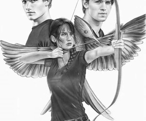 gale, katniss, and peeta image