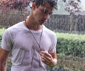 Hot, rain, and boy image