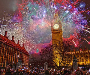 london, fireworks, and new year image