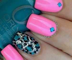 blue, leopard, and nail art image