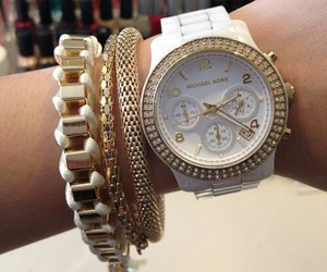 watch, gold, and white image
