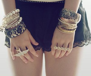 black and white, girl, and bracelets image
