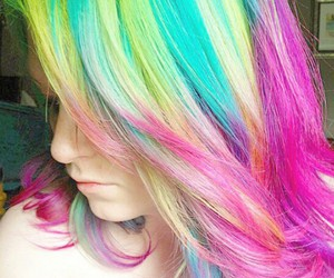 hair, pretty, and rainbow image