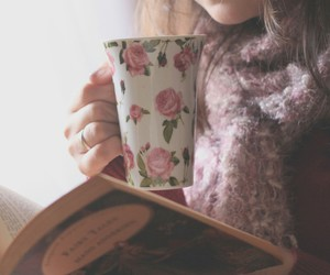 book, girl, and tea image