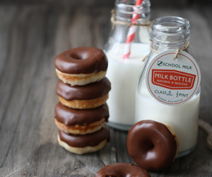 milk, donuts, and food image