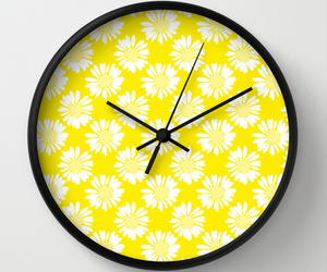 wall clock, yellow flowers, and home image