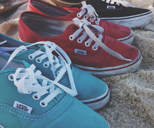vans, shoes, and beach image