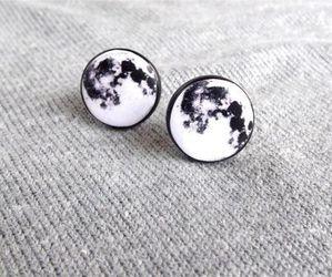 black, earrings, and moon image