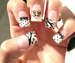 nails, animal print, and bow image
